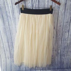 Vintage Cream and Black Tulle Midi Skirt, S/M